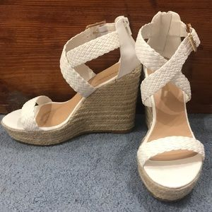 White Faux Leather Sandal Strap Wedges Size 8